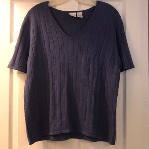 Cherokee Cable Knit V-Neck Short Sleeve Top